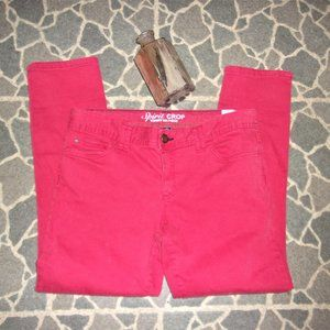 womans red denim blue jeans size 10 capris pants
